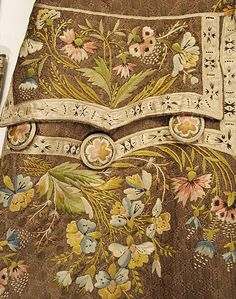 Frockcoat Pocket Embroidery detail of Suit, 1774-93, French, silk.