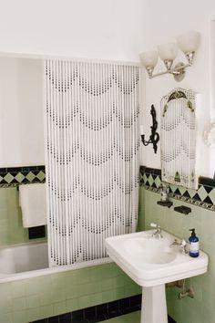 Art Deco green, white and black bathroom