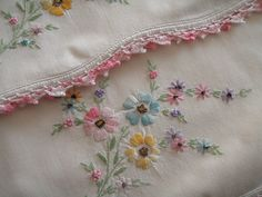 pillowcas, hand embroidery, cabin, cottag, stitch, vintage sheets, vintage embroidery, pillows, linen