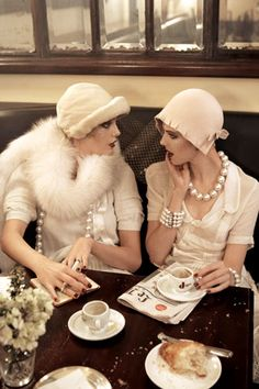 Vogue Sept 2007 -  The 1920s -Celebrate a special moment with The Lady in White - Capture her heart with a pearls jewelry gift of fancy designer Akoya Cultured Pearls Necklace and multi-strands bracelet. Visit #TheJewelryHut Jewelry Boutique
