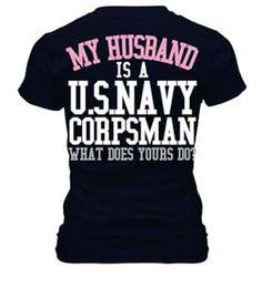 U.S. Navy Corpsman Wife T Shirt via Etsy
