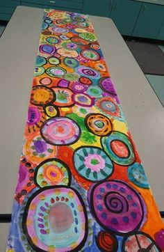 """Collaborative """"Dot"""" mural by grades 3, 4, and 5. (Donna Staten)"""