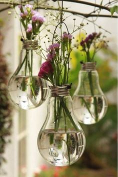 diy hanging vase: use an old light bulb. Could use red White   blue flowers for independence day