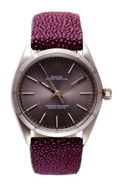 Rolex Stainless Steel Oyster Perpetual With Grey Dial and Purple Chagrin band