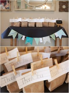 "Vintage Schoolhouse Baby Shower ""Thank You"" brown lunch sack favors 