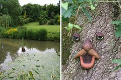 étang et sculpture sur tronc