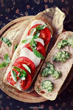 Caprese sandwich with tomato, mozzarella, basil + pesto sandwich