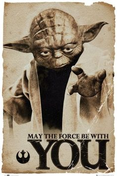 """Star Wars - Movie Poster (Yoda: May The Force Be With You) (Size: 24"""" x 36"""") - List price: $13.99 Price: $7.23 Saving: $6.76 (48%)"""