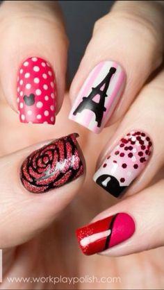 Paris Nail Art. Love the Eiffel Tower Nail!!
