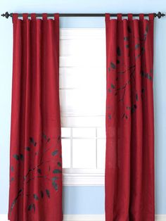 I love the red. diy red curtains, window curtains, fabric store, branch, window treatments, diy curtains, stencil, bedroom, decor idea