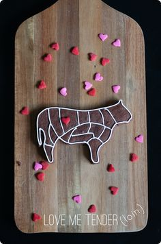 love me tender(loin) decorated cookies by @bakeat350 - #guy gift #valentinesday