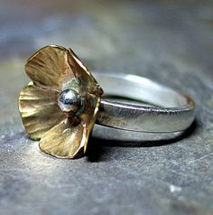 Sterling Silver and Brass Flower ring nature by LavenderCottage