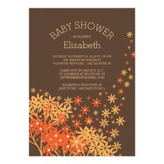 Beautiful gender neutral Autumn flowers Baby Shower Invitation featuring stylish & chic golden yellow & orange flowers set on a popular brown colored background.  Flip our trendy baby shower invitation over to view a popular coordinating  back for an extra special touch.  Perfect for a girls baby shower or boys baby shower