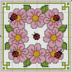 penny rugs, rug patterns, biscornu, bugs, crossstitch, cross stitch charts, color charts, crosses, cross stitches
