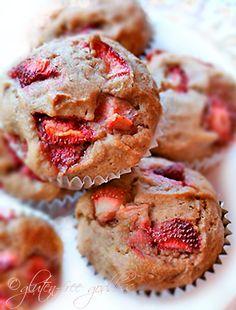 Gluten Free Strawberry Banana Muffins #vegan    #easy #gluten #free #breakfast #recipes