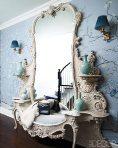 "Celerie Kemble on this mirrored, faux-marble banquette that she nicknamed ""the Beast"": ""It's just the kind of thing I love: pointlessly strange, quirky, chinoiserie-meets-Dorothy-Draper gone bonkers."" #decor #details #De_Gournay #wallpaper"