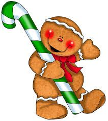 Gingy with green candy cane clipart