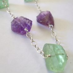 Raw Gemstone Necklace Amethyst Nugget Necklace Uncut Green Fluorite Chunky Necklace.