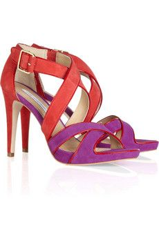 Diane von Furstenberg Jodi colorblock suede sandals. The purple and red together are so cool.