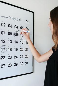 """Calendario/ pizarra de pared """"write on/write off"""""""