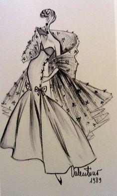 Valentino fashion sketches - gorgeous! draw, fashionsketch, valentino fashion sketches, fashion design, valentino 1989, fashion art, 1989 sketch, fashion illustr, design cloth