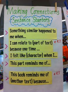 Making connections sentence starters chart