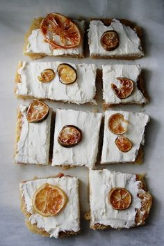 Cream-Cheese Lemon Squares. meyer lemon marmalade and actual slices bakeries, food styling, food design, comfort food, lemon squares, appetizers, creamchees lemon, sweet bread, cream cheese frosting