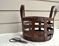 DIY Leather Basket - maybe old belts and pop rivets!
