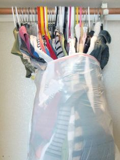 Put hanging clothes into garbage bags while still on the hanger - great idea when moving or packing for college!  When you arrive they are all ready to hang up in your new closet.
