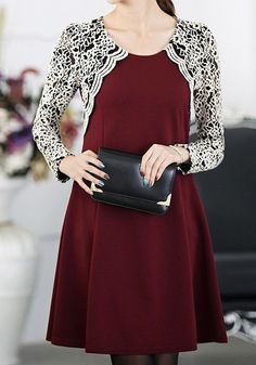 Embroidered Lace Sleeves Dress - Port