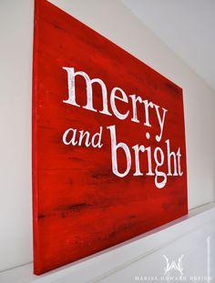 Festive Painted Canvas with a rustic wood look tutorial. marisahowarddesign.com #merryandbright #rustic #christmas #diy