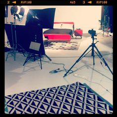 Graphic rugs and Fonteyn bed in the studio