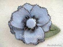 beaded blue flower pin