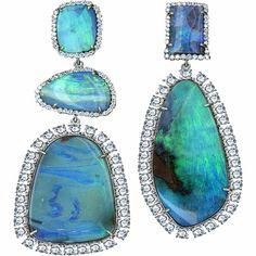 #jewelry #blue #earrings #statement #stones #royal #rhinestones #green #fashion #retro #fabulous