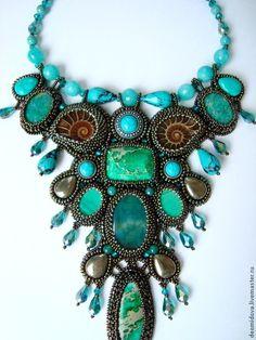 """Collar """"Old Legend"""" - una leyenda, turquesa, malaquita, esmeralda, bronce"""