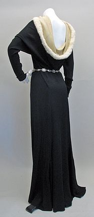 1930's Black Crepe with Fur Evening Dress