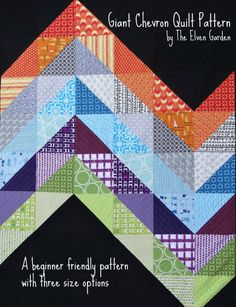 Giant Chevron Quilt Pattern, Baby, Lap and Twin size options