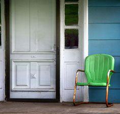 Green motel chair