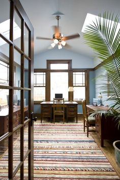 wood trim, living rooms, office designs, home office design, blue walls, color, craftsman homes, traditional homes, home offices