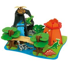 """Your child can make their very own, hopefully less scarey version of """"Jurassic Park"""" with this beautifully designed wooden Dino Island. The varying tree heights, mountain with waterfall and volcano make some excellent hiding areas for the dinosaurs which include the Triceratops on its nest, the T-Rex, the Brontosaurus and the Stegosaurus. Some assembly required. Only £59.99."""