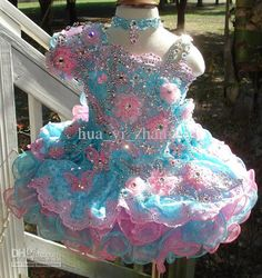 Wholesale 2013 Cute Little Girls Cupcake Dresses Pageant Flower Beaded Organza One Shoulder Party Dress, Free shipping, $139.52-159.5/Piece | DHgate