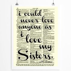 Sister Quote, Sisters Art, Sorority Decor printed on 1897 Dictionary pageby reimaginationprints