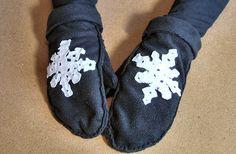 fleece mittens diy with printable pattern