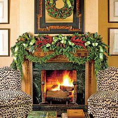 chair, mantel idea, christma idea, christma holiday, christmas decorating ideas