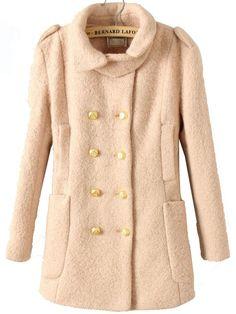 Light Pink Lapel Long Coat
