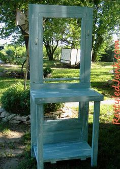 DIY recycled screen door potting bench + other Cool Crafts for Kids   Linky Party