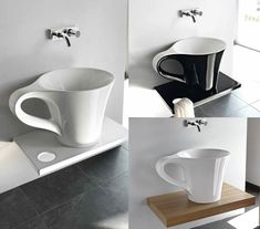cup basin on shelf