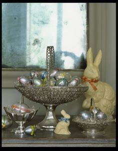 Whimsical polka dots and ribbons are the perfect accessories on these silver eggs.