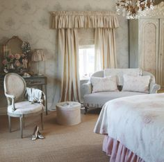 French style.  Sofa cushions, chair and wardrobe liner: Amelia Bed linen: Pink Sophia Walpaper: Grey Sophia Bedspread:
