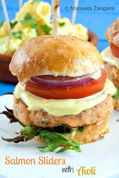 A delicious recipe perfect for entertaining: Salmon Sliders with home-made Aioli!